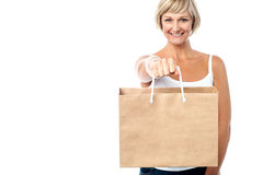 Woman holding paper shopping bag Royalty Free Stock Images