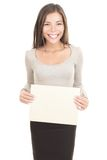 Woman holding paper sign Royalty Free Stock Image