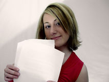 Woman Holding Papers royalty free stock photos