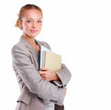Woman holding paperwork and copyspace Royalty Free Stock Photos