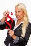Woman holding paragraph sign Royalty Free Stock Photos