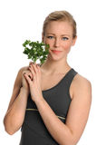 Woman Holding Parsley Royalty Free Stock Images