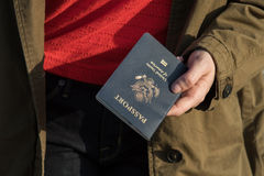 Woman holding passport royalty free stock photos