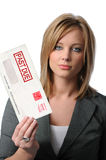Woman Holding Past Due Envelope stock photos