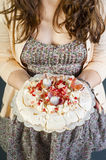 Woman holding Pavlova Royalty Free Stock Photo