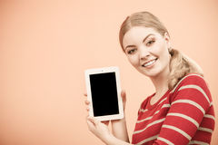 Woman holding pc tablet. Blank screen copyspace Royalty Free Stock Image