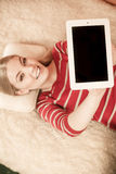 Woman holding pc tablet. Blank screen copyspace Royalty Free Stock Photos