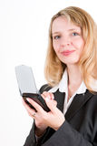 A woman holding a pda Stock Images