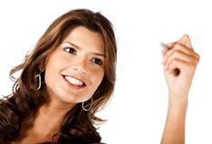 Woman holding a pen Royalty Free Stock Image