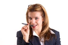 Woman Holding A Pen royalty free stock images