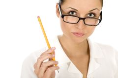 Woman holding pencil Royalty Free Stock Photography