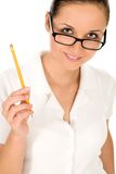 Woman holding pencil Royalty Free Stock Image