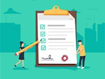 Woman holding a pencil completing checklist on clipboard. Business concept. Clipboard with checklist icon. stock illustration