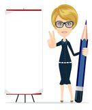 Woman holding a pencil and pointing to a blank poster. Stock Image