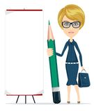 Woman holding a pencil and stands near a blank poster. Stock Photo