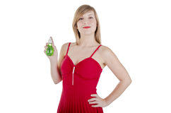 Woman holding perfume bottle Royalty Free Stock Image