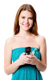 Woman Holding Phone Stock Photo