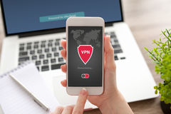 Woman holding phone app vpn creation Internet protocols protecti Royalty Free Stock Photo