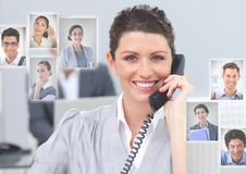 Woman holding phone with Profile portraits of people contacts Royalty Free Stock Images