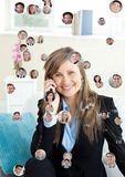 Woman holding phone with Profile portraits of people contacts Stock Images