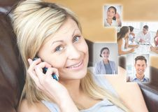 Woman holding phone with Profile portraits of people contacts Stock Image