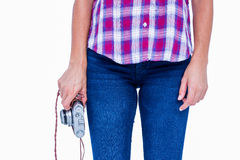 A woman holding photo camera Royalty Free Stock Image
