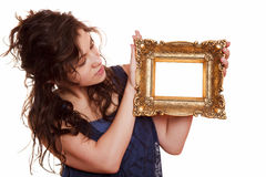 Woman holding an picture frame Royalty Free Stock Photo