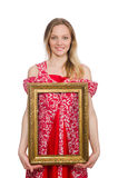 Woman holding picture frame isolated Royalty Free Stock Image