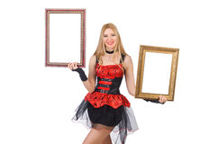 Woman holding picture frame Stock Photo