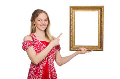 Woman holding picture frame isolated Stock Photos