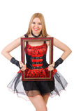 Woman holding picture frame Stock Image