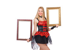 Woman holding picture frame Stock Photos