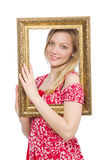 Woman holding picture frame isolated Royalty Free Stock Photos