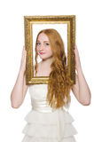 Woman holding picture frame isolated Stock Photography