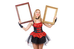 Woman holding picture frame isolated Stock Image