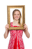 Woman holding picture frame isolated Stock Images