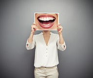 Free Woman Holding Picture With Big Smile Stock Images - 30416344
