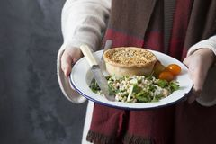 Woman holding a pie and salad meal. A woman wearing a red and brown scarf holds a plate containing a meal of pie and salad royalty free stock photo
