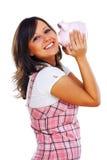 Woman holding pig money-box Royalty Free Stock Photo
