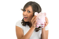 Woman holding pig money-box Royalty Free Stock Photography