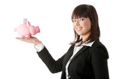 Woman Holding Piggy Bank Stock Photo