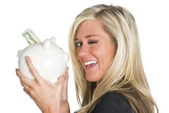 Woman Holding Piggy Bank Royalty Free Stock Photos