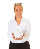 Woman holding piggy bank Royalty Free Stock Photo