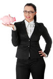 Woman Holding Piggy Bank Stock Images