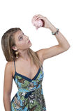 Woman holding piggy bank Royalty Free Stock Photography
