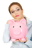 Woman holding piggy bank. Royalty Free Stock Image