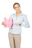 Woman holding piggy bank. Stock Images