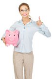 Woman holding piggy bank. Stock Image