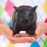 Woman holding the piggy bank in her hands Royalty Free Stock Photo
