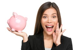 Woman holding piggy bank screaming excited Stock Photos